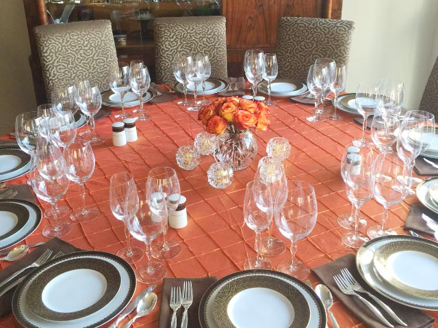 Photo: 6-seat table expanded to 12 place settings