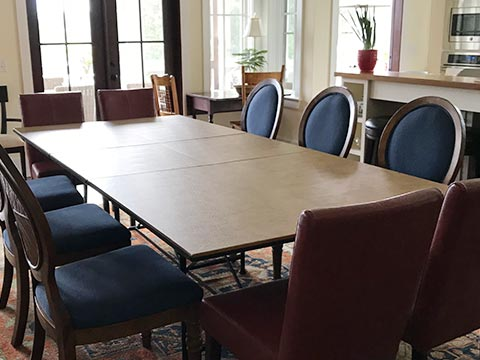 Photo: rectangular table extended to 10 seats