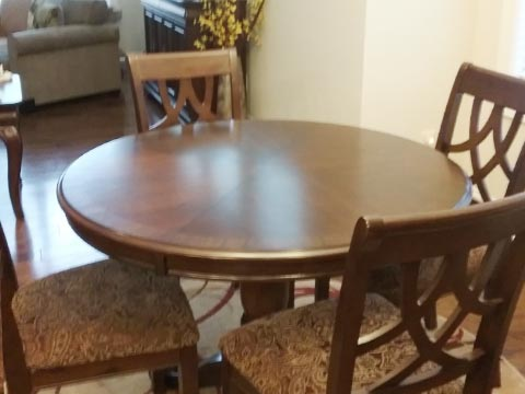 Photo: table extender before-and-after comparison with 42 inch table