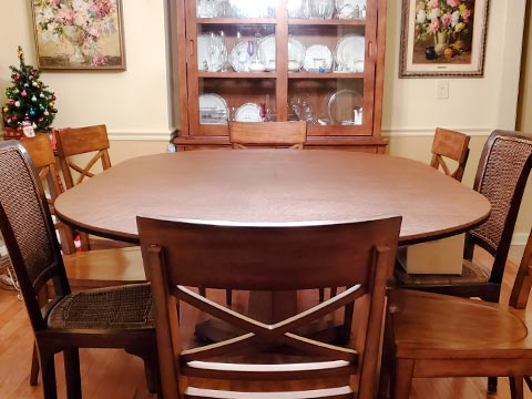 Cherry wood oval table extender with 8 chairs